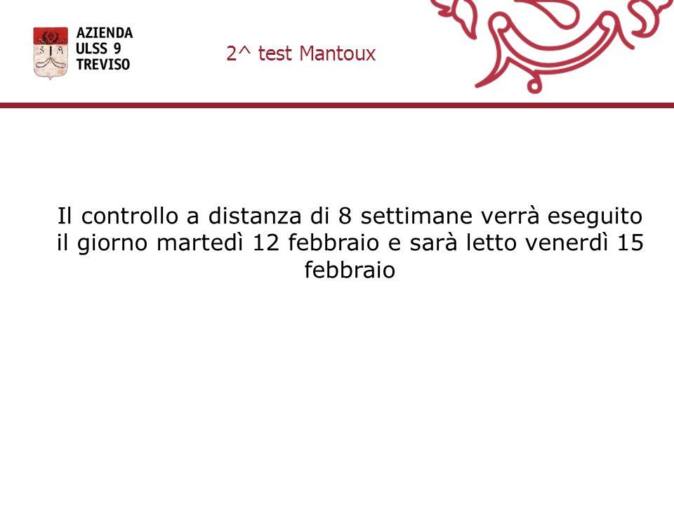 Il controllo a distanza di 8 settimane verrà eseguito il giorno martedì 12 febbraio e sarà letto venerdì 15 febbraio 2^ test Mantoux