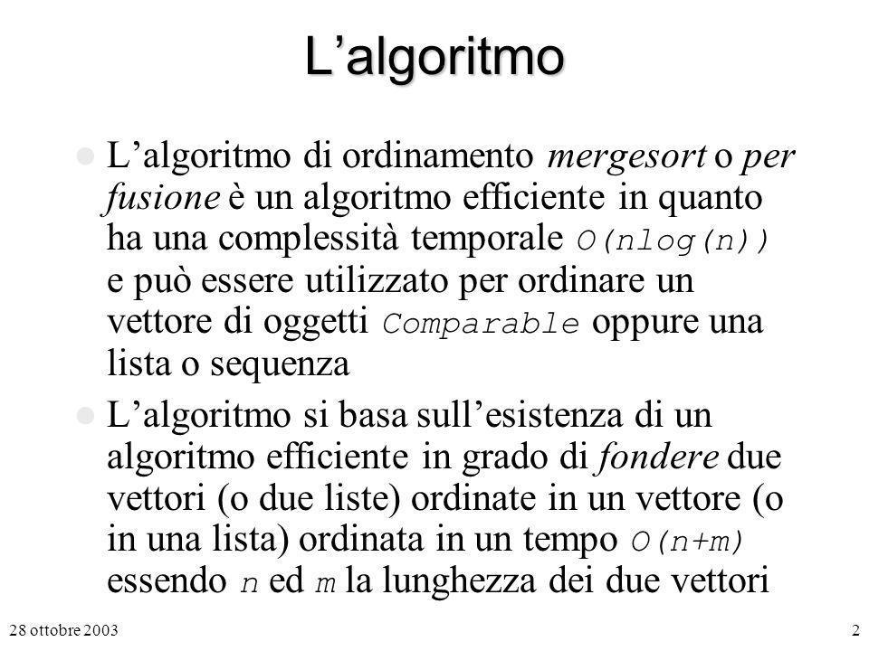 2Lalgoritmo Lalgoritmo di ordinamento mergesort o per fusione è un algoritmo efficiente in quanto ha una complessità temporale O(nlog(n)) e può essere utilizzato per ordinare un vettore di oggetti Comparable oppure una lista o sequenza Lalgoritmo si basa sullesistenza di un algoritmo efficiente in grado di fondere due vettori (o due liste) ordinate in un vettore (o in una lista) ordinata in un tempo O(n+m) essendo n ed m la lunghezza dei due vettori