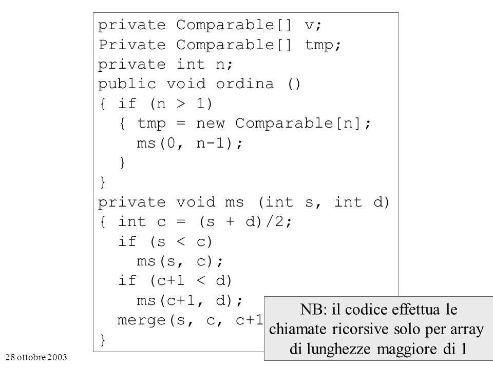 28 ottobre 20038 private Comparable[] v; Private Comparable[] tmp; private int n; public void ordina () { if (n > 1) { tmp = new Comparable[n]; ms(0, n-1); } private void ms (int s, int d) { int c = (s + d)/2; if (s < c) ms(s, c); if (c+1 < d) ms(c+1, d); merge(s, c, c+1, d); } NB: il codice effettua le chiamate ricorsive solo per array di lunghezze maggiore di 1