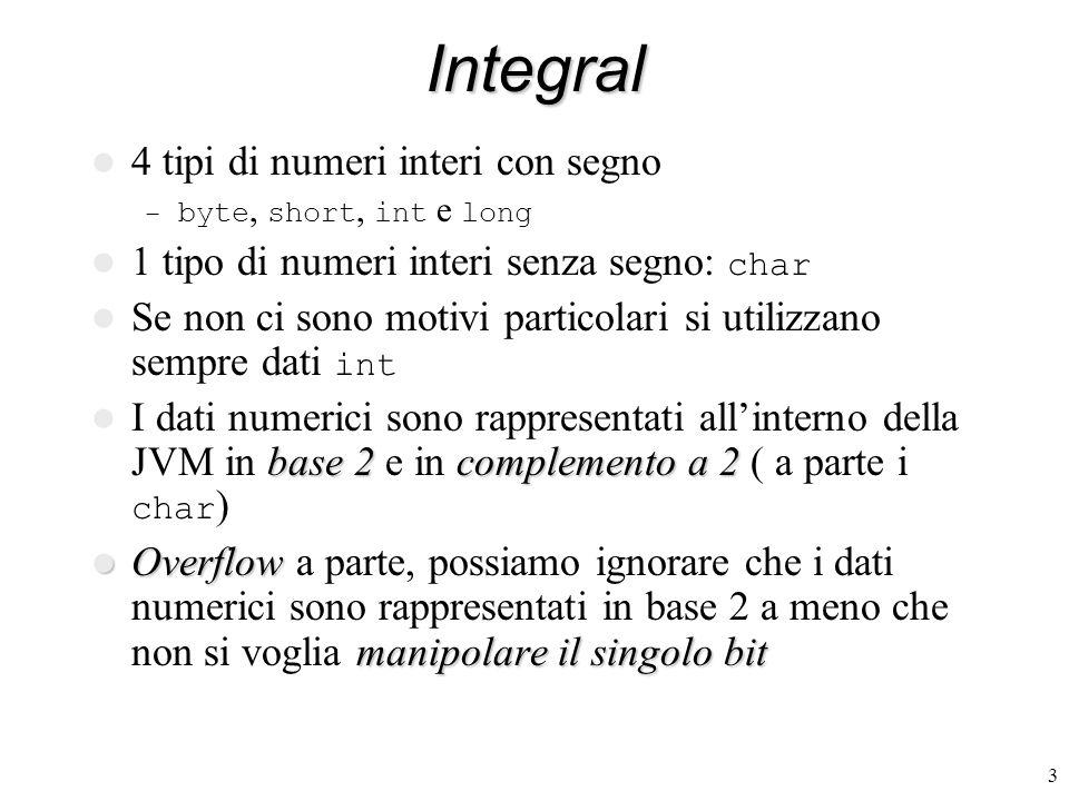 3Integral 4 tipi di numeri interi con segno – byte, short, int e long 1 tipo di numeri interi senza segno: char Se non ci sono motivi particolari si utilizzano sempre dati int base 2complemento a 2 I dati numerici sono rappresentati allinterno della JVM in base 2 e in complemento a 2 ( a parte i char ) Overflow manipolare il singolo bit Overflow a parte, possiamo ignorare che i dati numerici sono rappresentati in base 2 a meno che non si voglia manipolare il singolo bit
