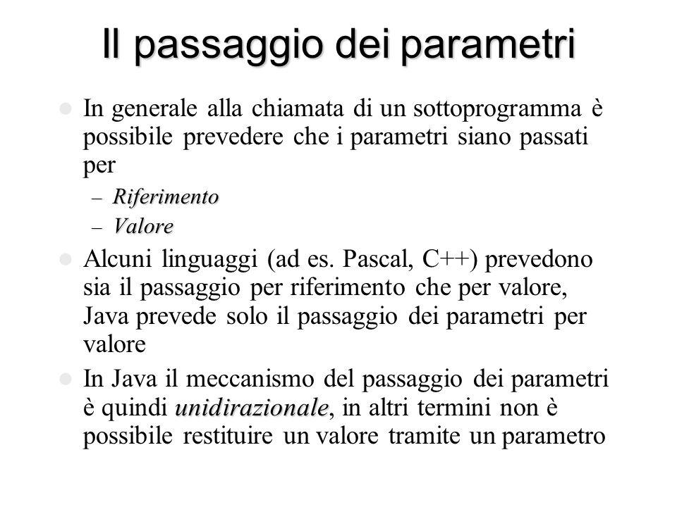 Il passaggio dei parametri In generale alla chiamata di un sottoprogramma è possibile prevedere che i parametri siano passati per – Riferimento – Valore Alcuni linguaggi (ad es.