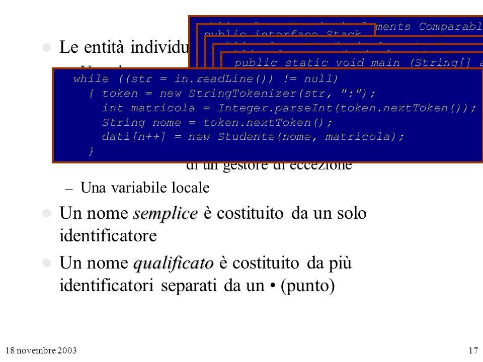 18 novembre 200317 Le entità individuate da un nome possono essere – Una classe – Uninterfaccia – Un membro di una classe (campo o metodo) – Un parametro di un metodo, di un costruttore o di un gestore di eccezione – Una variabile locale semplice Un nome semplice è costituito da un solo identificatore qualificato Un nome qualificato è costituito da più identificatori separati da un (punto) public class Coppia implements Comparable { public Comparable chiave; …} public interface Stack { void push (Object x); …} public class Coppia implements Comparable { public Comparable chiave; … public String toString () { return chiave.toString() + : + attributo.toString(); } public String toString () { return chiave.toString() + : + attributo.toString(); }} public class Coppia implements Comparable { … public Coppia (Comparable c, Object a) { chiave = c; attributo = a; } public Coppia (Comparable c, Object a) { chiave = c; attributo = a; } public int compareTo (Object x) { return chiave.compareTo(((Coppia)x).chiave); } public int compareTo (Object x) { return chiave.compareTo(((Coppia)x).chiave); }} public static void main (String[] arg) throws IOException public static void main (String[] arg) throws IOException { BufferedReader in = new BufferedReader(new FileReader(arg[0])); { BufferedReader in = new BufferedReader(new FileReader(arg[0])); int n = 0; int n = 0; int somma = 0; int somma = 0; … while ((str = in.readLine()) != null) while ((str = in.readLine()) != null) { token = new StringTokenizer(str, : ); { token = new StringTokenizer(str, : ); int matricola = Integer.parseInt(token.nextToken()); int matricola = Integer.parseInt(token.nextToken()); String nome = token.nextToken(); String nome = token.nextToken(); dati[n++] = new Studente(nome, matricola); dati[n++] = new Studente(nome, matricola); }