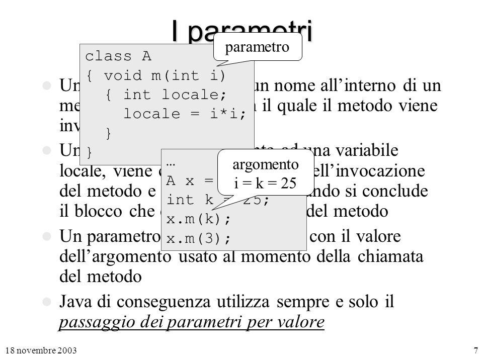 18 novembre 20037 I parametri Un parametro attribuisce un nome allinterno di un metodo allargomento con il quale il metodo viene invocato Un parametro, analogamente ad una variabile locale, viene creato al momento dellinvocazione del metodo e cessa di esistere quando si conclude il blocco che costituisce il corpo del metodo Un parametro viene inizializzato con il valore dellargomento usato al momento della chiamata del metodo Java di conseguenza utilizza sempre e solo il passaggio dei parametri per valore class A { void m(int i) { int locale; locale = i*i; } … A x = new A(); int k = 25; x.m(k); x.m(3); parametro argomento i = k = 25