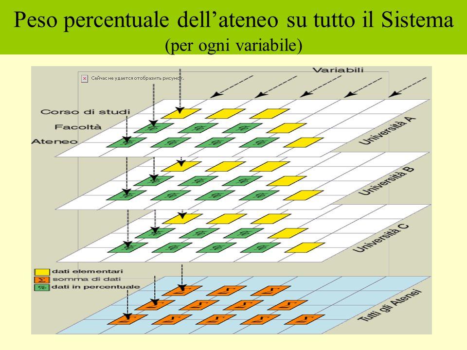 Peso percentuale dellateneo su tutto il Sistema (per ogni variabile)