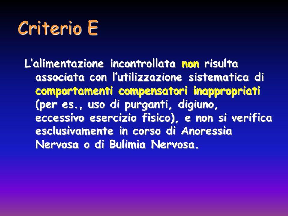 Criterio E Lalimentazione incontrollata non risulta associata con lutilizzazione sistematica di comportamenti compensatori inappropriati (per es., uso