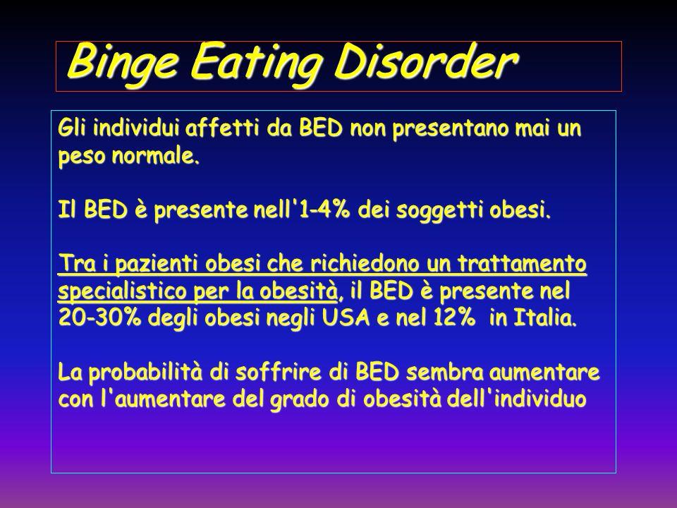 Binge Eating Disorder Gli individui affetti da BED non presentano mai un peso normale. Il BED è presente nell'1-4% dei soggetti obesi. Tra i pazienti