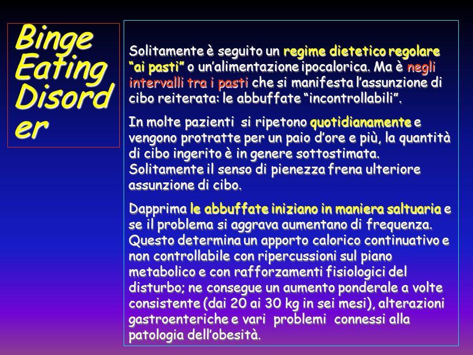 BingeEating Disord er Solitamente è seguito un regime dietetico regolare ai pasti o unalimentazione ipocalorica. Ma è negli intervalli tra i pasti che