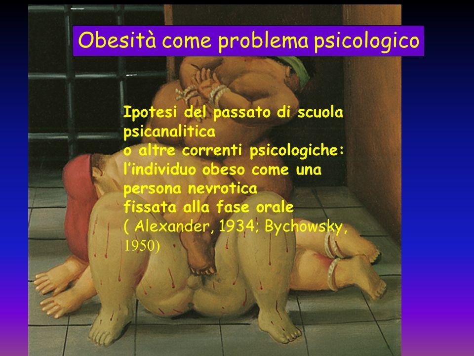 Obesità come problema psicologico Ipotesi del passato di scuola psicanalitica o altre correnti psicologiche: lindividuo obeso come una persona nevroti