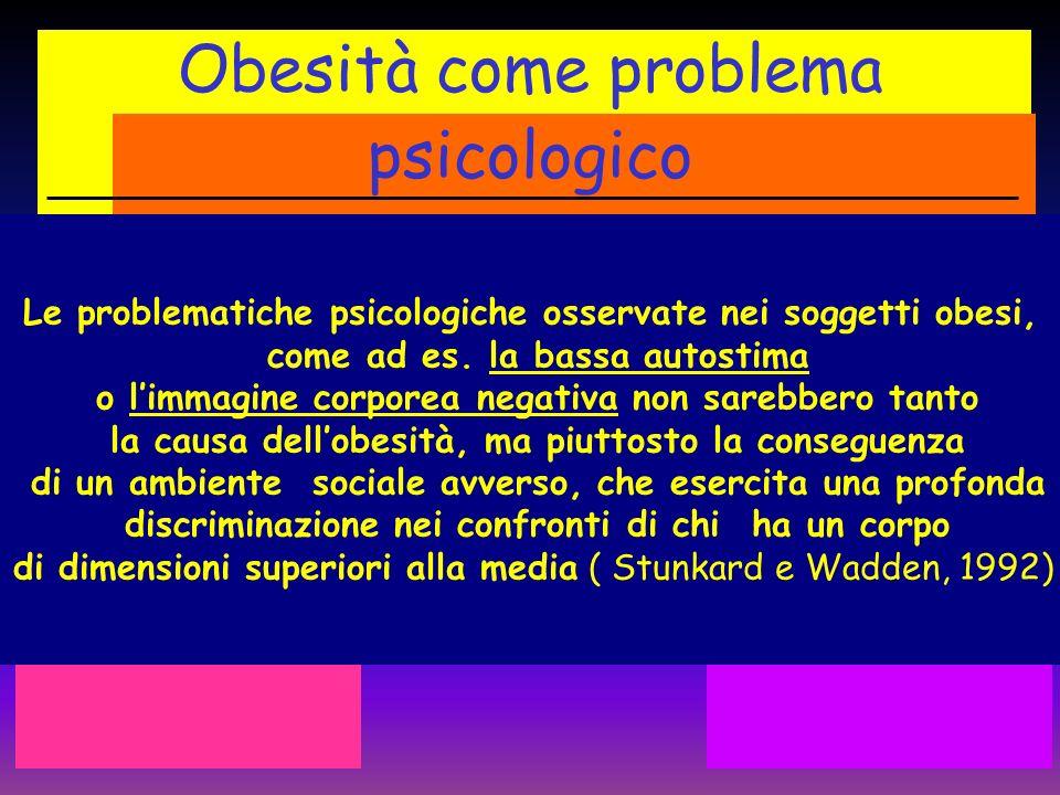 Obesità come problema psicologico Le problematiche psicologiche osservate nei soggetti obesi, come ad es. la bassa autostima o limmagine corporea nega