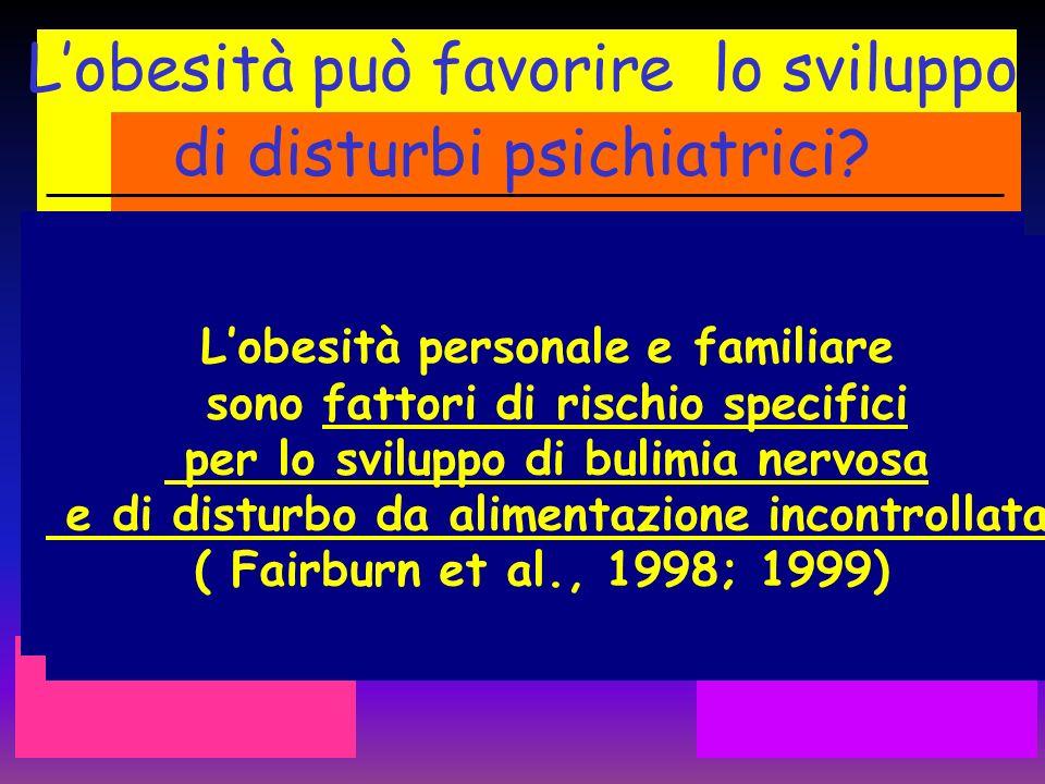 Lobesità può favorire lo sviluppo di disturbi psichiatrici? Lobesità personale e familiare sono fattori di rischio specifici per lo sviluppo di bulimi