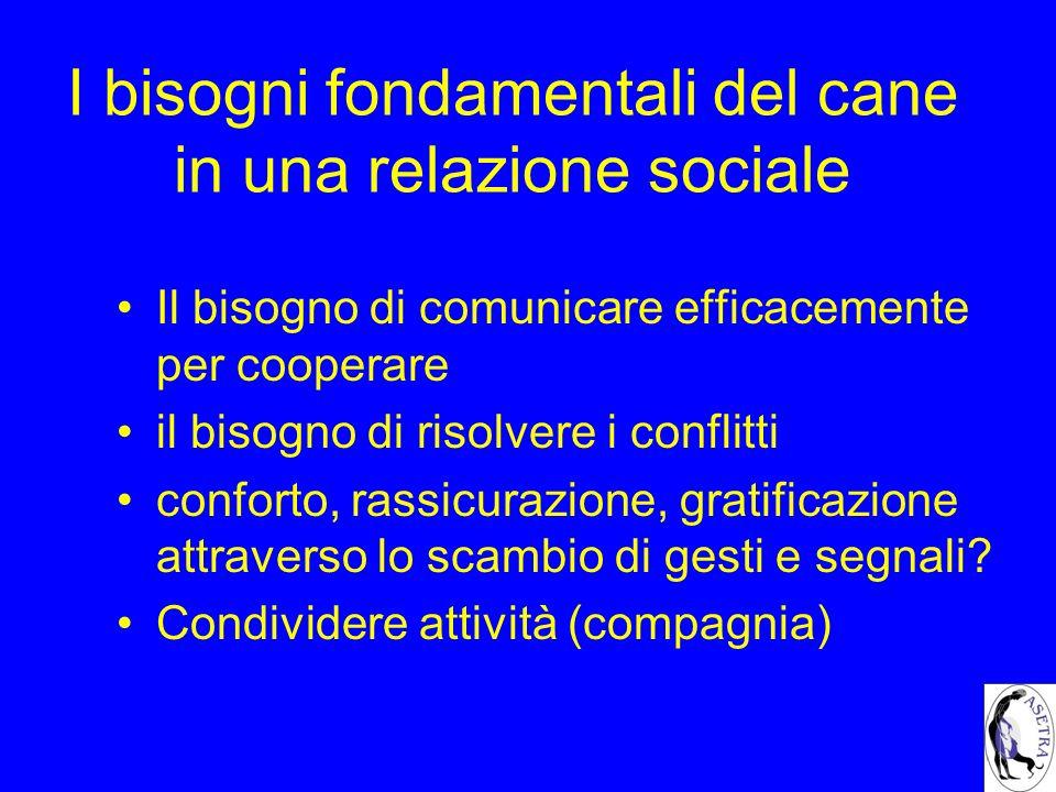 I bisogni fondamentali del cane in una relazione sociale Il bisogno di comunicare efficacemente per cooperare il bisogno di risolvere i conflitti conf
