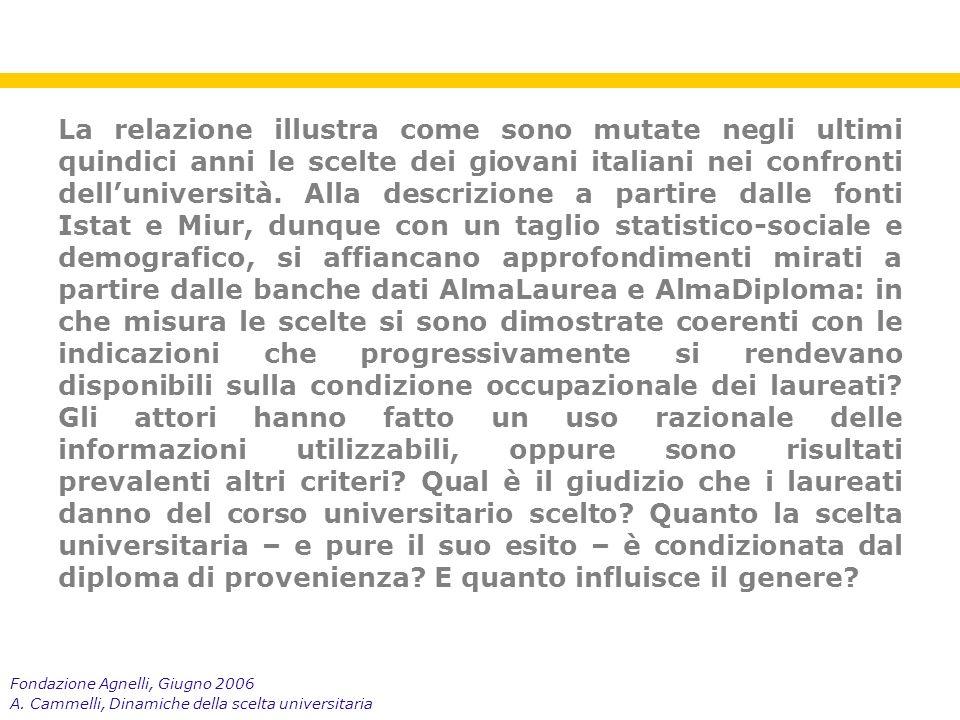 Fondazione Agnelli, Giugno 2006 A.Cammelli, Dinamiche della scelta universitaria 1.