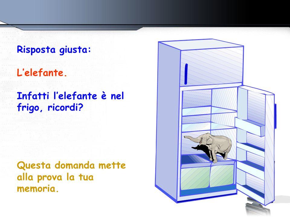 Risposta giusta: Lelefante. Infatti lelefante è nel frigo, ricordi? Questa domanda mette alla prova la tua memoria.