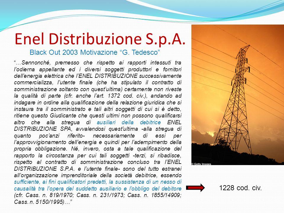 Enel Distribuzione S.p.A. …Sennonché, premesso che rispetto ai rapporti intessuti tra lodierna appellante ed i diversi soggetti produttori e fornitori