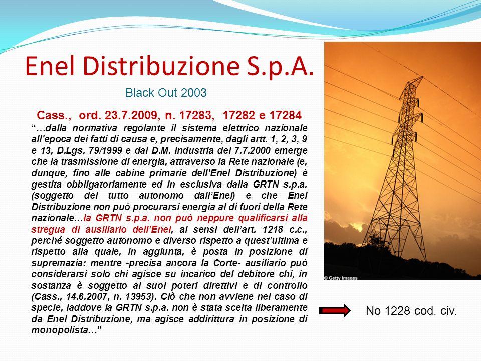 Enel Distribuzione S.p.A. Black Out 2003 Cass., ord. 23.7.2009, n. 17283, 17282 e 17284 …dalla normativa regolante il sistema elettrico nazionale alle