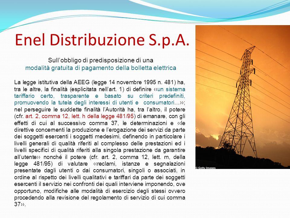 Enel Distribuzione S.p.A. La legge istitutiva della AEEG (legge 14 novembre 1995 n. 481) ha, tra le altre, la finalità (esplicitata nellart. 1) di def