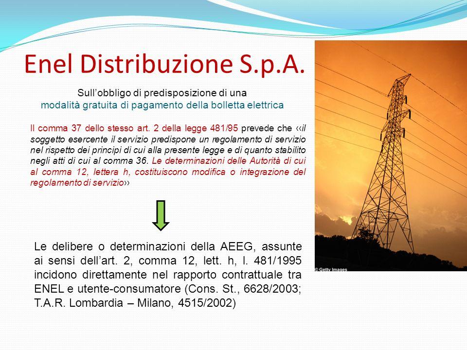 Enel Distribuzione S.p.A. Il comma 37 dello stesso art. 2 della legge 481/95 prevede che il soggetto esercente il servizio predispone un regolamento d