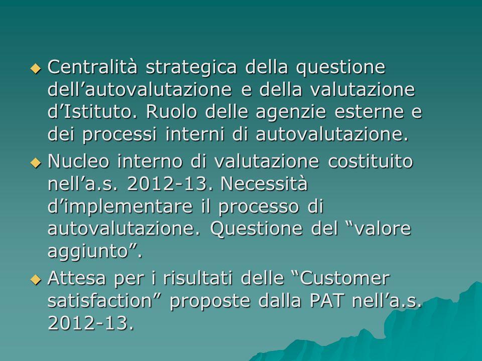 Centralità strategica della questione dellautovalutazione e della valutazione dIstituto.