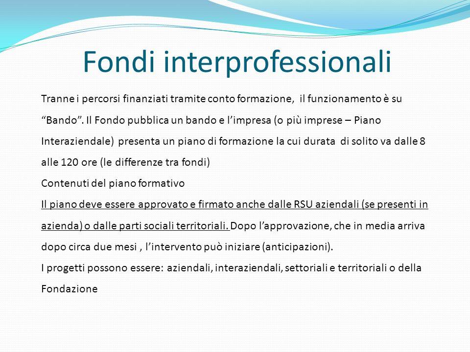 Fondi interprofessionali Tranne i percorsi finanziati tramite conto formazione, il funzionamento è suBando. Il Fondo pubblica un bando e limpresa (o p