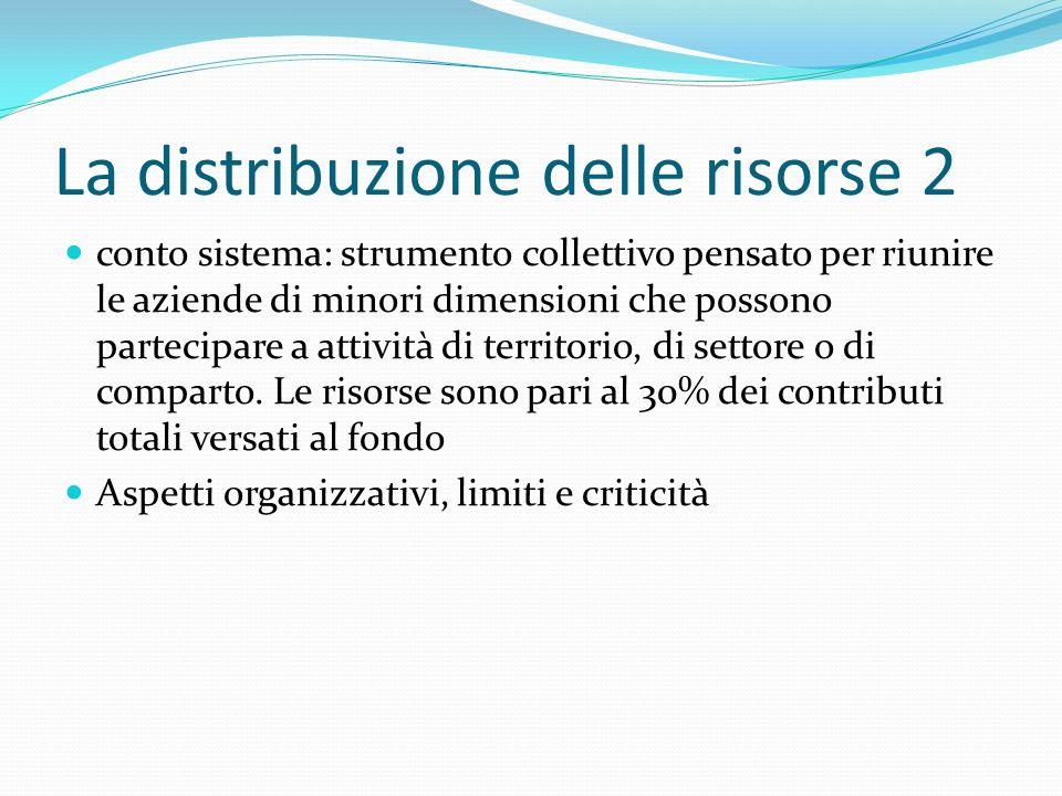 La distribuzione delle risorse 2 conto sistema: strumento collettivo pensato per riunire le aziende di minori dimensioni che possono partecipare a attività di territorio, di settore o di comparto.