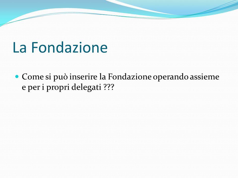 La Fondazione Come si può inserire la Fondazione operando assieme e per i propri delegati