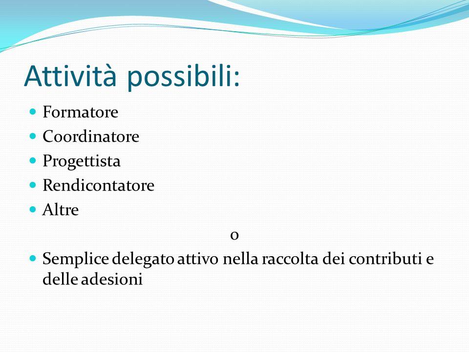 Attività possibili: Formatore Coordinatore Progettista Rendicontatore Altre o Semplice delegato attivo nella raccolta dei contributi e delle adesioni