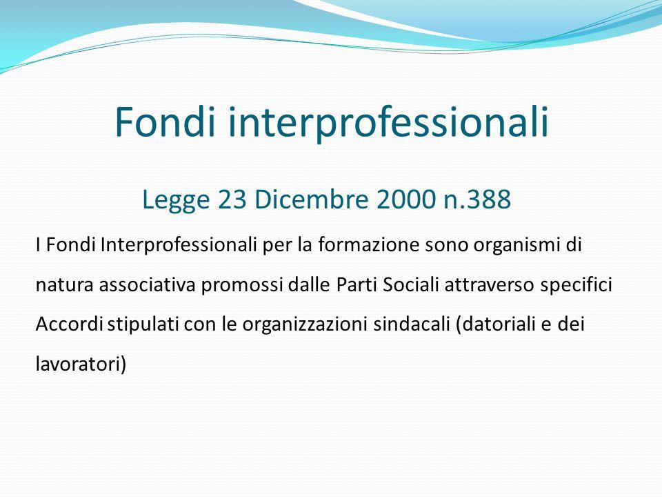 Fondi interprofessionali Legge 23 Dicembre 2000 n.388 I Fondi Interprofessionali per la formazione sono organismi di natura associativa promossi dalle Parti Sociali attraverso specifici Accordi stipulati con le organizzazioni sindacali (datoriali e dei lavoratori)