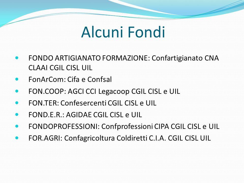 Alcuni Fondi FONDO ARTIGIANATO FORMAZIONE: Confartigianato CNA CLAAI CGIL CISL UIL FonArCom: Cifa e Confsal FON.COOP: AGCI CCI Legacoop CGIL CISL e UIL FON.TER: Confesercenti CGIL CISL e UIL FOND.E.R.: AGIDAE CGIL CISL e UIL FONDOPROFESSIONI: Confprofessioni CIPA CGIL CISL e UIL FOR.AGRI: Confagricoltura Coldiretti C.I.A.