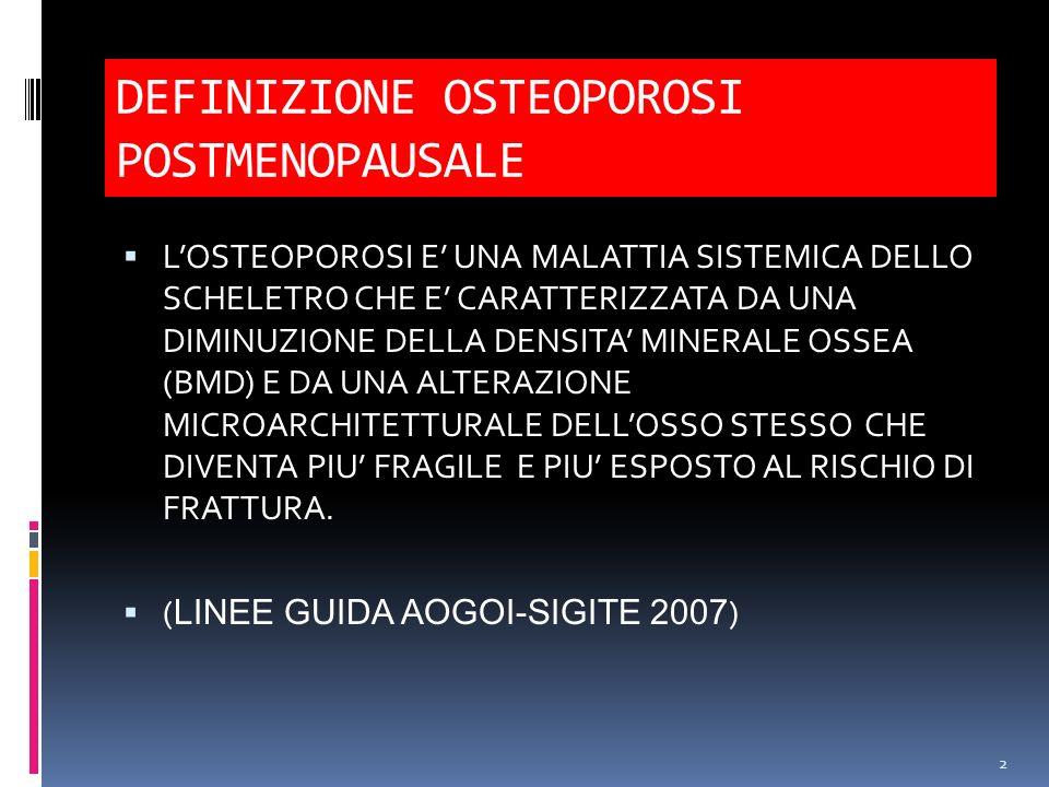 DEFINIZIONE OSTEOPOROSI POSTMENOPAUSALE LOSTEOPOROSI E UNA MALATTIA SISTEMICA DELLO SCHELETRO CHE E CARATTERIZZATA DA UNA DIMINUZIONE DELLA DENSITA MI