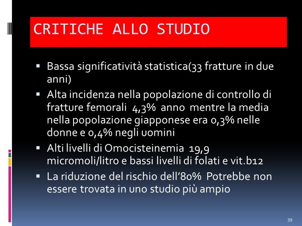 CRITICHE ALLO STUDIO Bassa significatività statistica(33 fratture in due anni) Alta incidenza nella popolazione di controllo di fratture femorali 4,3%