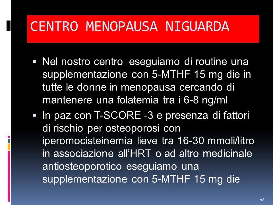 CENTRO MENOPAUSA NIGUARDA Nel nostro centro eseguiamo di routine una supplementazione con 5-MTHF 15 mg die in tutte le donne in menopausa cercando di