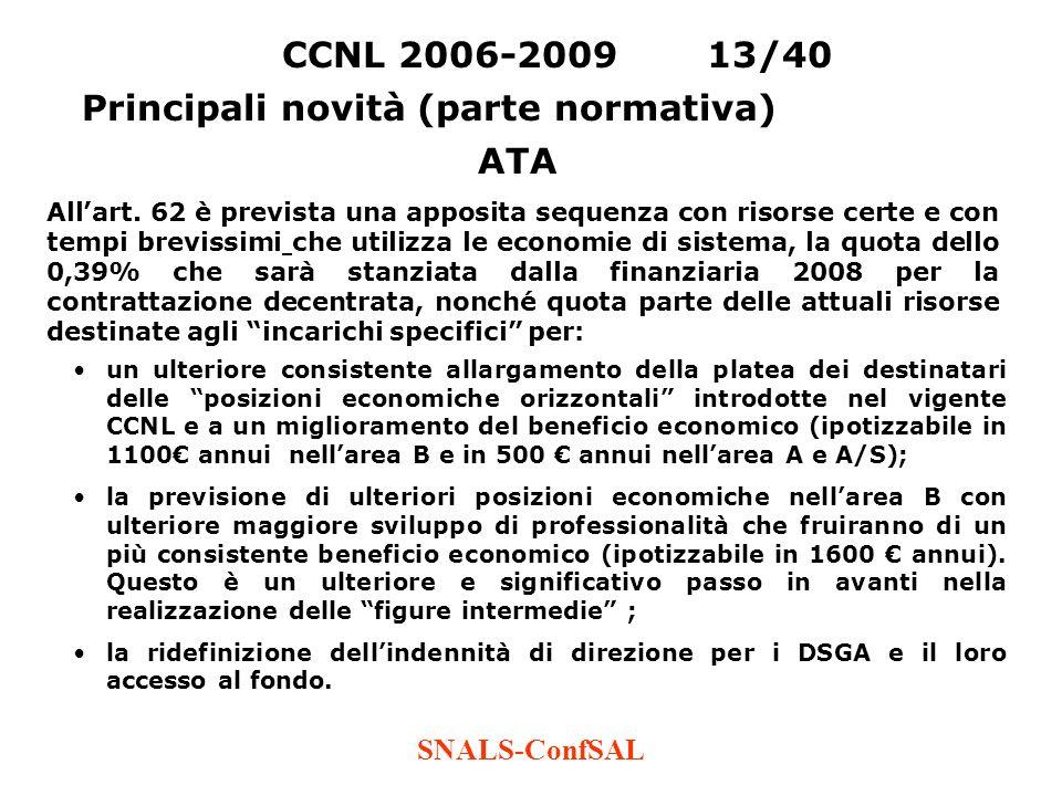SNALS-ConfSAL un ulteriore consistente allargamento della platea dei destinatari delle posizioni economiche orizzontali introdotte nel vigente CCNL e