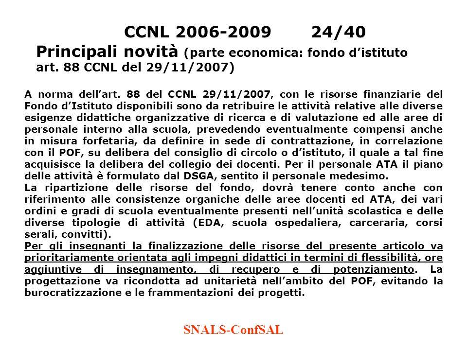 SNALS-ConfSAL CCNL 2006-200924/40 Principali novità (parte economica: fondo distituto art. 88 CCNL del 29/11/2007) A norma dellart. 88 del CCNL 29/11/