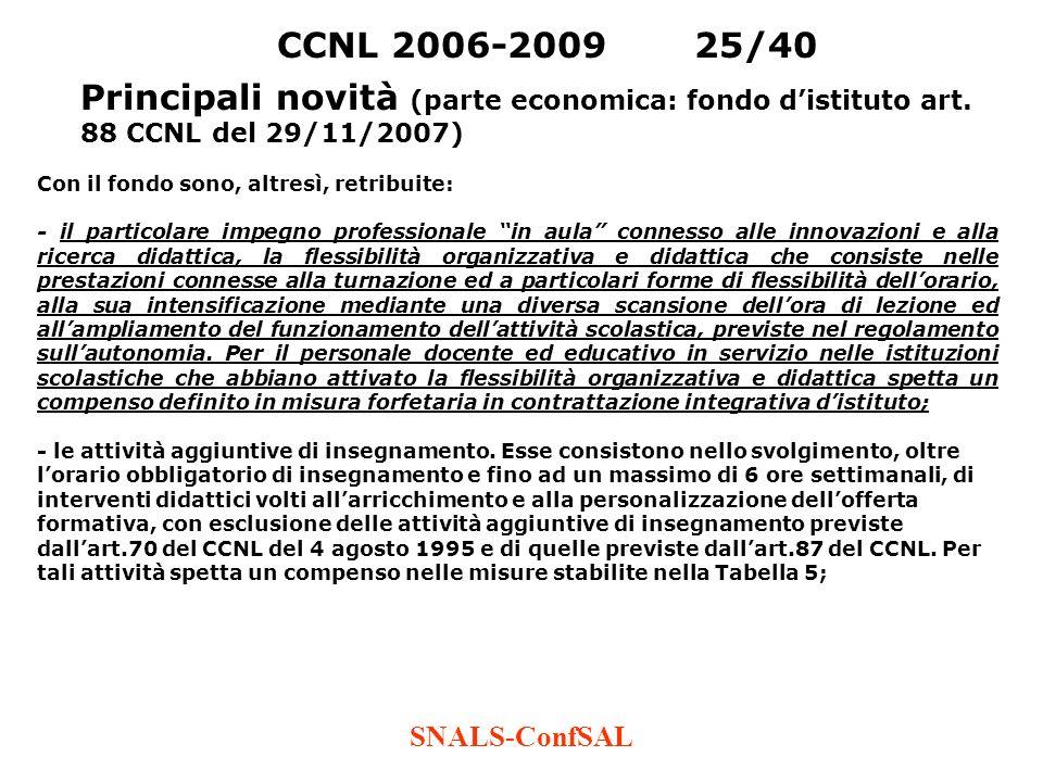 SNALS-ConfSAL CCNL 2006-200925/40 Principali novità (parte economica: fondo distituto art. 88 CCNL del 29/11/2007) Con il fondo sono, altresì, retribu