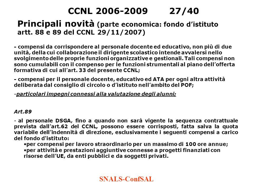SNALS-ConfSAL CCNL 2006-200927/40 Principali novità (parte economica: fondo distituto artt. 88 e 89 del CCNL 29/11/2007) - compensi da corrispondere a