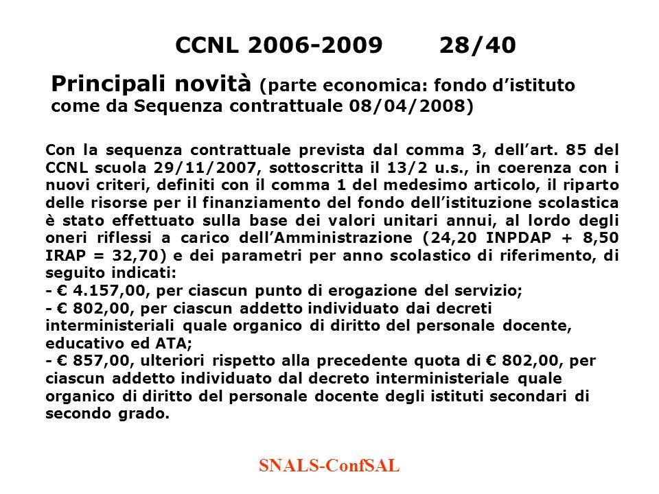 SNALS-ConfSAL CCNL 2006-200928/40 Principali novità (parte economica: fondo distituto come da Sequenza contrattuale 08/04/2008) Con la sequenza contra