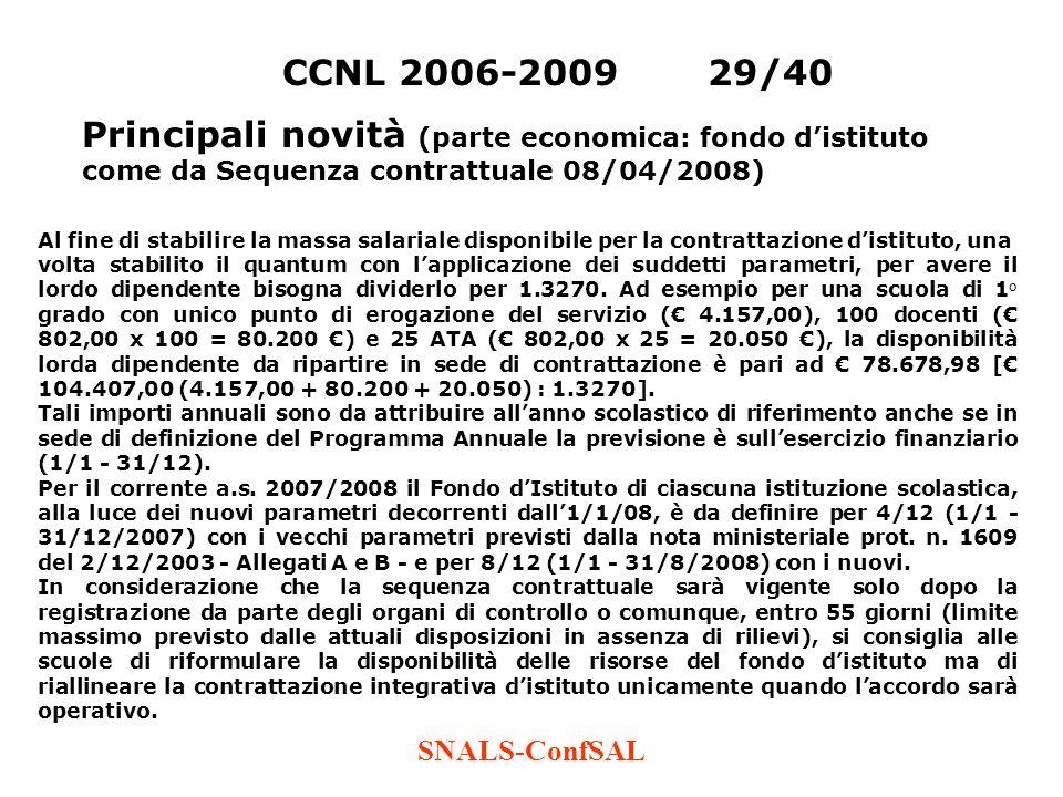 SNALS-ConfSAL CCNL 2006-200929/40 Principali novità (parte economica: fondo distituto come da Sequenza contrattuale 08/04/2008) Al fine di stabilire l