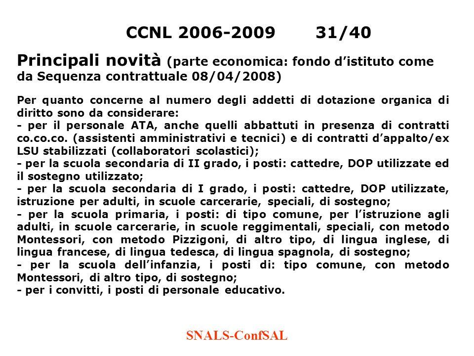 SNALS-ConfSAL CCNL 2006-200931/40 Principali novità (parte economica: fondo distituto come da Sequenza contrattuale 08/04/2008) Per quanto concerne al