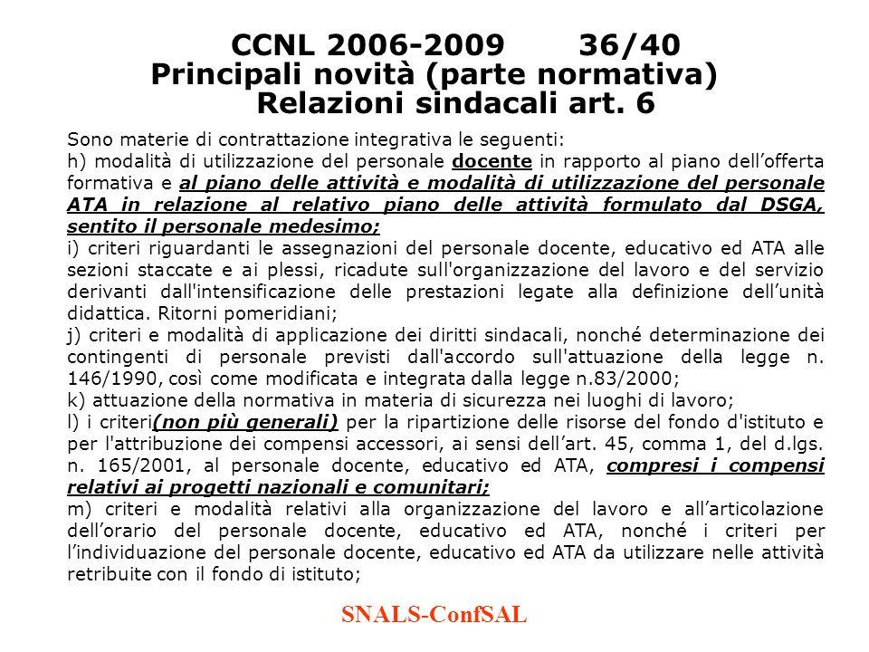 SNALS-ConfSAL CCNL 2006-200936/40 Principali novità (parte normativa) Relazioni sindacali art. 6 Sono materie di contrattazione integrativa le seguent