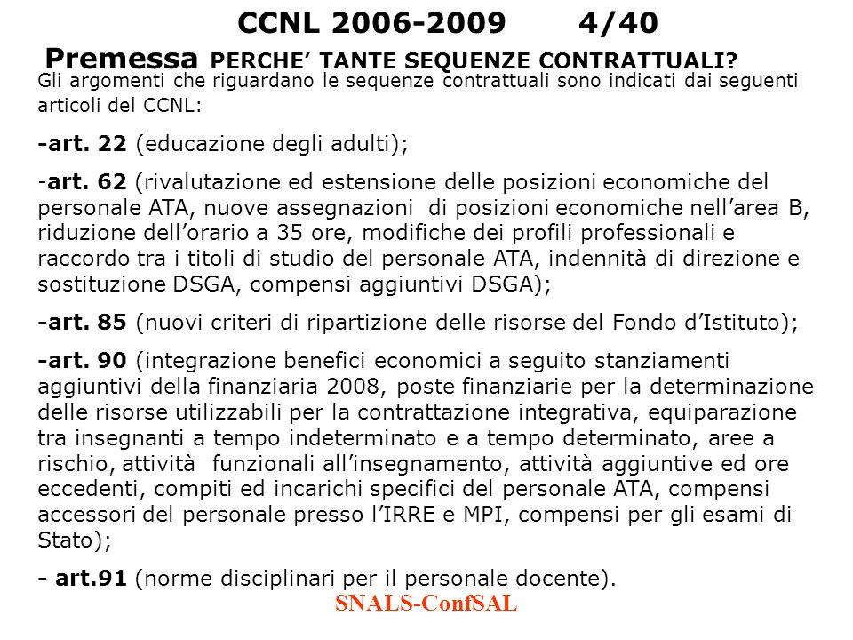 SNALS-ConfSAL Gli argomenti che riguardano le sequenze contrattuali sono indicati dai seguenti articoli del CCNL: -art. 22 (educazione degli adulti);