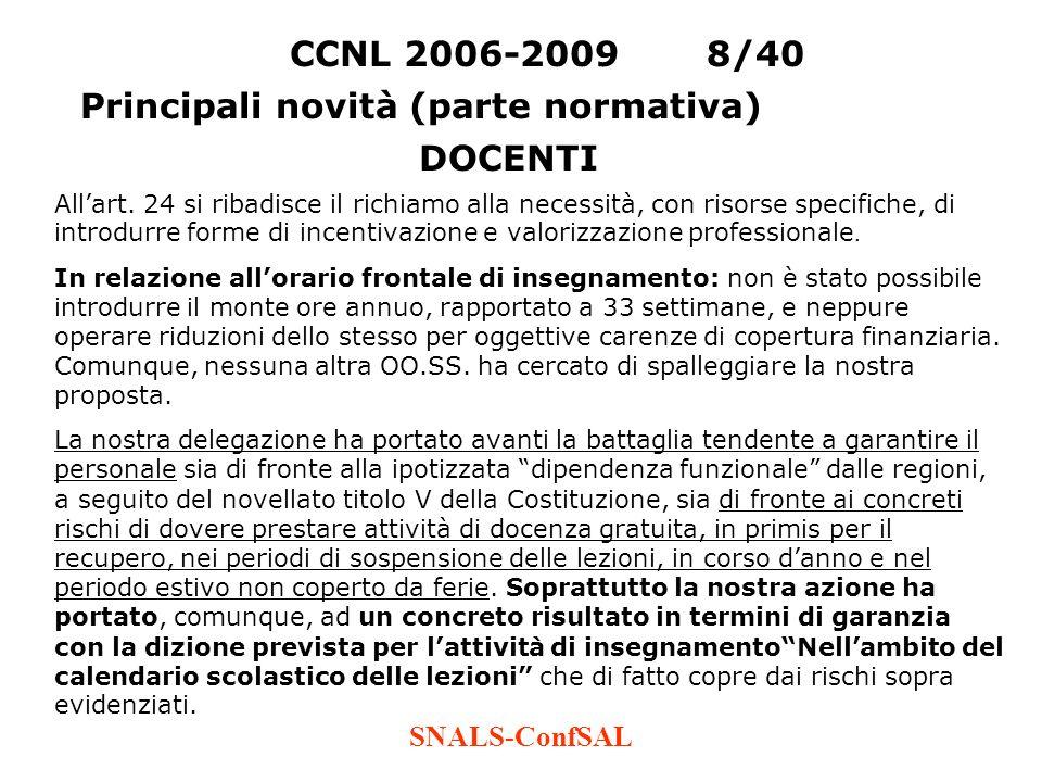 SNALS-ConfSAL CCNL 2006-20098/40 Principali novità (parte normativa) Allart. 24 si ribadisce il richiamo alla necessità, con risorse specifiche, di in