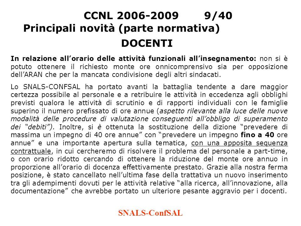SNALS-ConfSAL CCNL 2006-20099/40 Principali novità (parte normativa) In relazione allorario delle attività funzionali allinsegnamento: non si è potuto