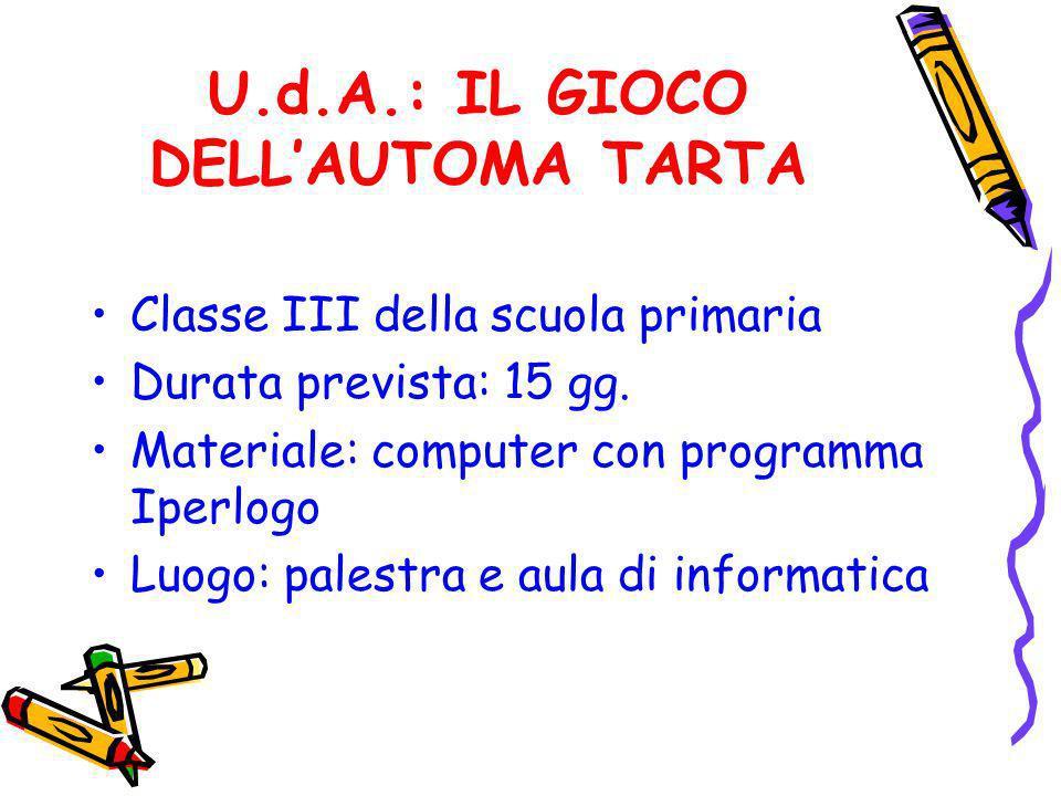 U.d.A.: IL GIOCO DELLAUTOMA TARTA Classe III della scuola primaria Durata prevista: 15 gg. Materiale: computer con programma Iperlogo Luogo: palestra