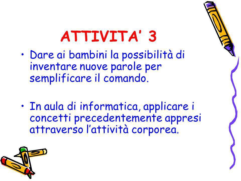 ATTIVITA 3 Dare ai bambini la possibilità di inventare nuove parole per semplificare il comando. In aula di informatica, applicare i concetti preceden