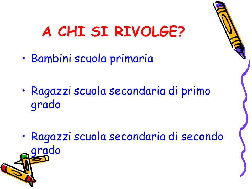 A CHI SI RIVOLGE? Bambini scuola primaria Ragazzi scuola secondaria di primo grado Ragazzi scuola secondaria di secondo grado