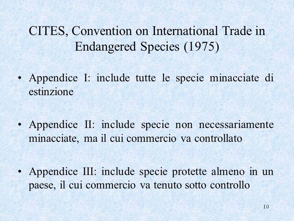 10 CITES, Convention on International Trade in Endangered Species (1975) Appendice I: include tutte le specie minacciate di estinzione Appendice II: i