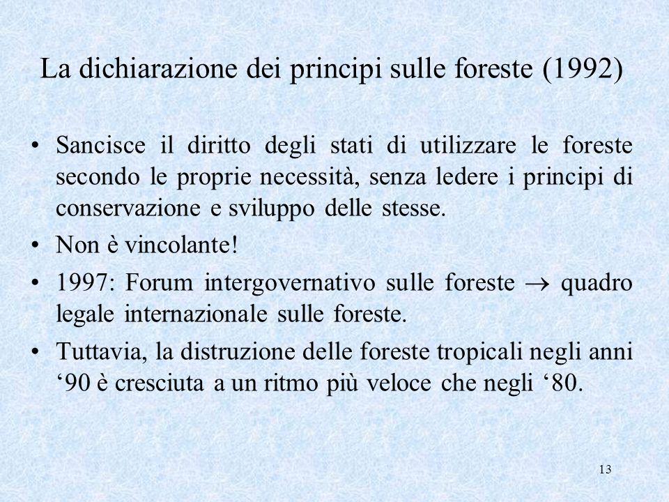 13 La dichiarazione dei principi sulle foreste (1992) Sancisce il diritto degli stati di utilizzare le foreste secondo le proprie necessità, senza led