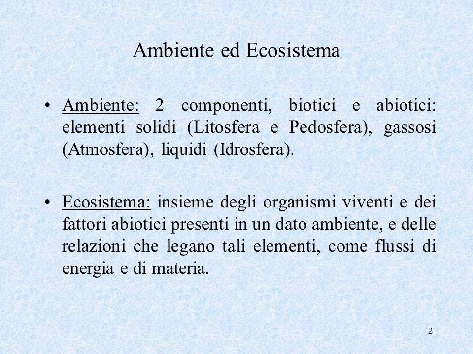 2 Ambiente ed Ecosistema Ambiente: 2 componenti, biotici e abiotici: elementi solidi (Litosfera e Pedosfera), gassosi (Atmosfera), liquidi (Idrosfera)