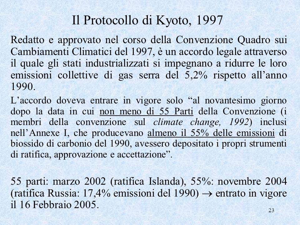23 Il Protocollo di Kyoto, 1997 Redatto e approvato nel corso della Convenzione Quadro sui Cambiamenti Climatici del 1997, è un accordo legale attrave