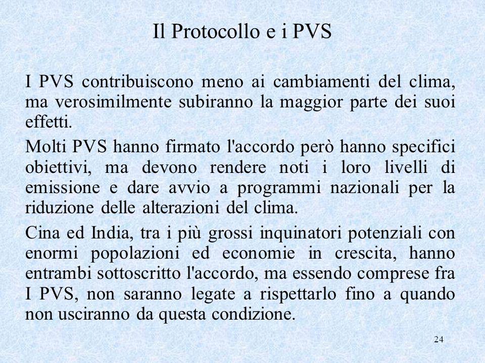 24 Il Protocollo e i PVS I PVS contribuiscono meno ai cambiamenti del clima, ma verosimilmente subiranno la maggior parte dei suoi effetti. Molti PVS